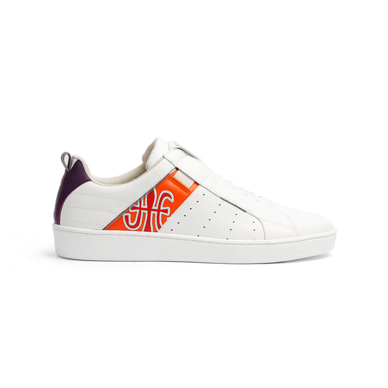 Men's Icon Manhood White Purple Orange Leather Sneakers 02093-026 - ROYAL ELASTICS