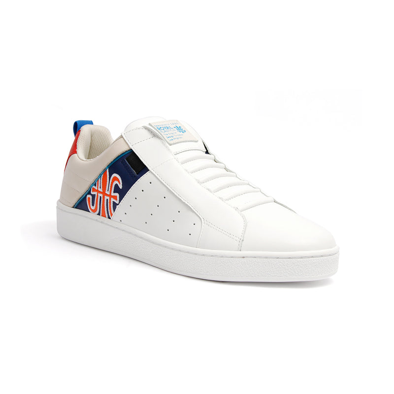 Men's Icon Manhood White Gray Blue Leather Sneakers 02093-051 - ROYAL ELASTICS