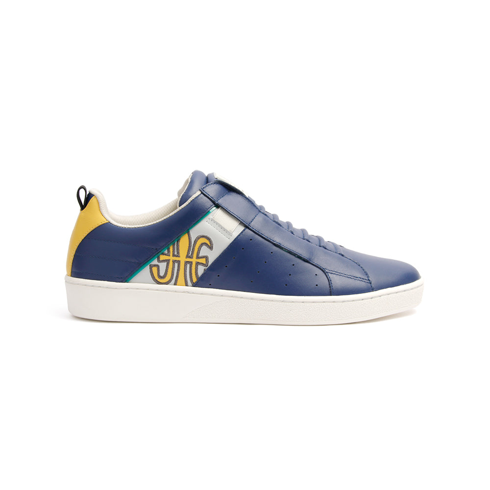 Men's Icon Manhood Dark Blue Silver Yellow Leather Sneakers 02093-583 - ROYAL ELASTICS