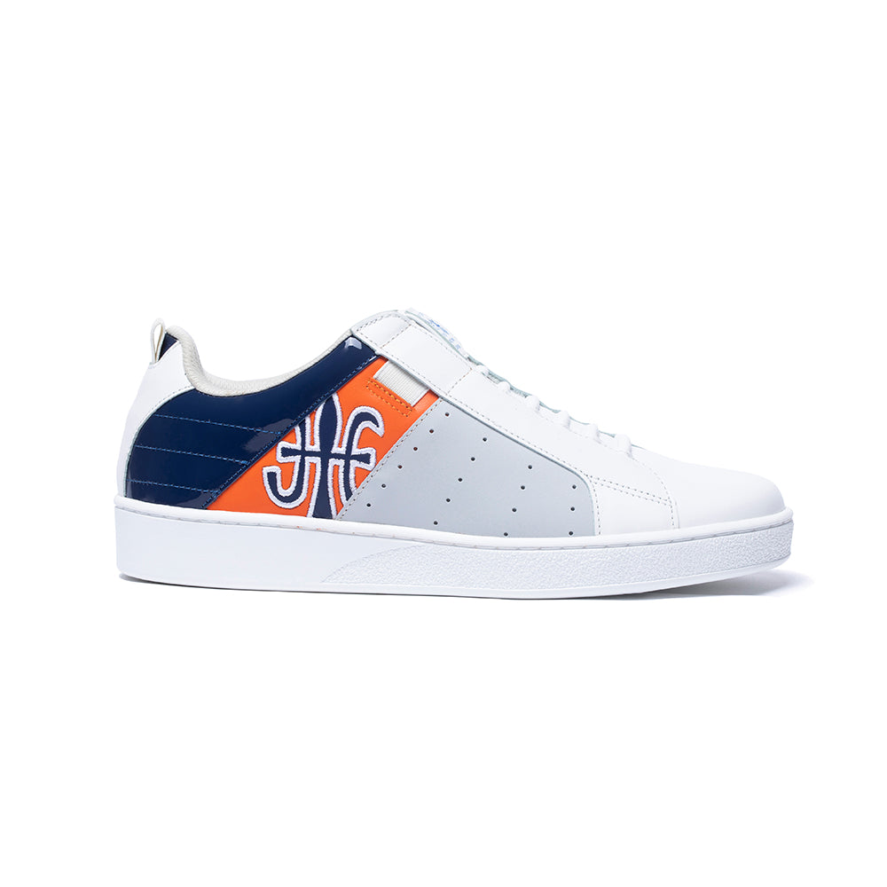 Men's Icon Manhood White Blue Orange Leather Sneakers 02094-025