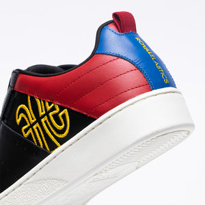Men's Icon Manhood Black Red Yellow  Leather Sneakers 02094-915