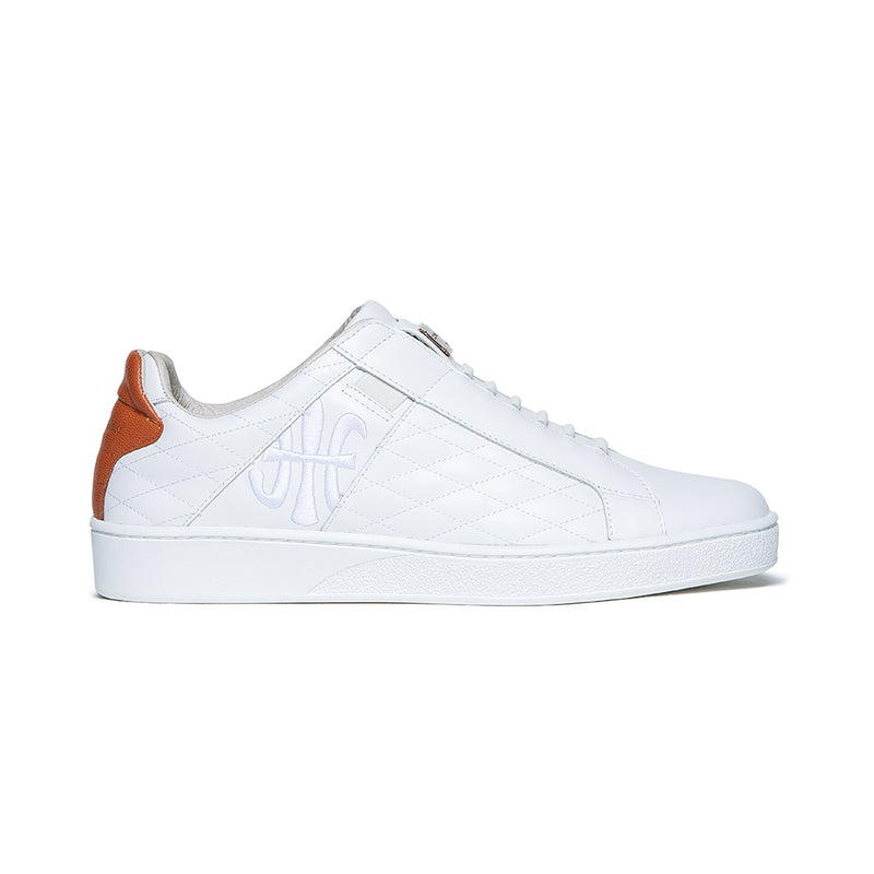 Men's Icon Lux White Orange Leather Sneakers 02511-002