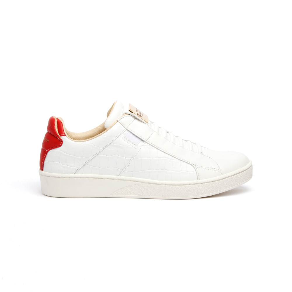 Men's Icon SBI White Red Leather Sneakers 02583-081 - ROYAL ELASTICS