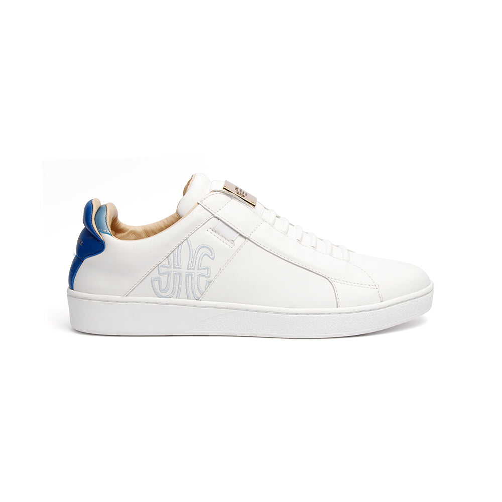 Men's Icon SBI White Blue Leather Sneakers 02592-005