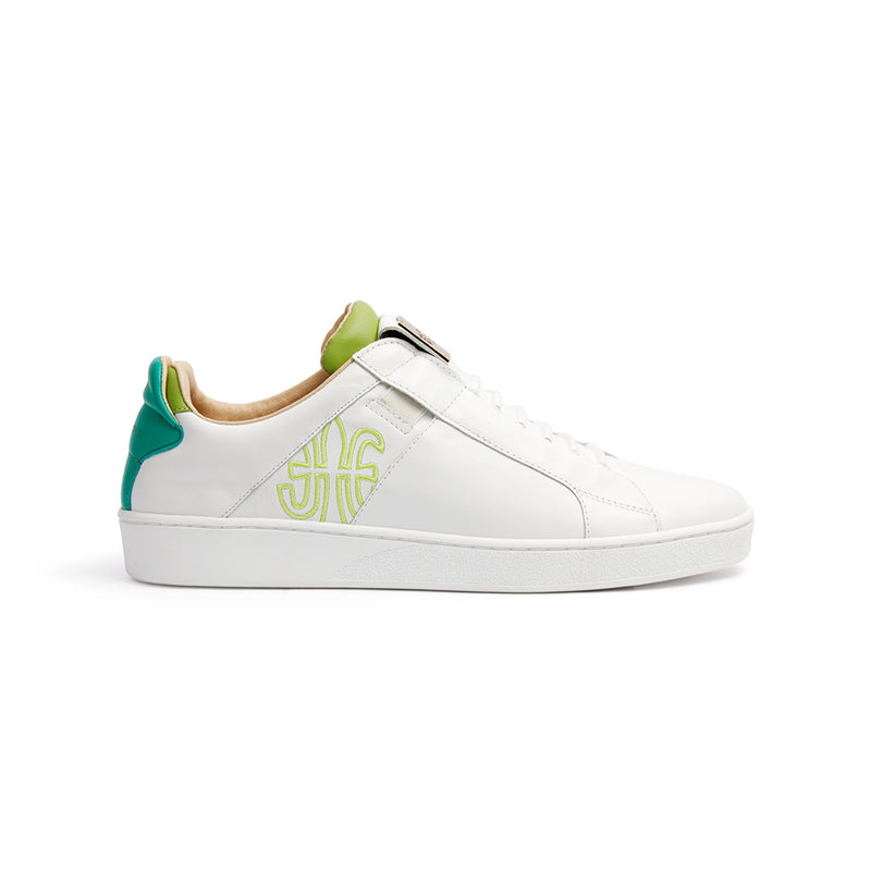 Men's Icon SBI White Green Leather Sneakers 02593-004