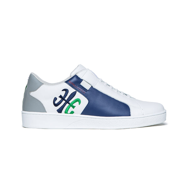 Men's Adelaide White Blue Green Leather Sneakers 02612-054