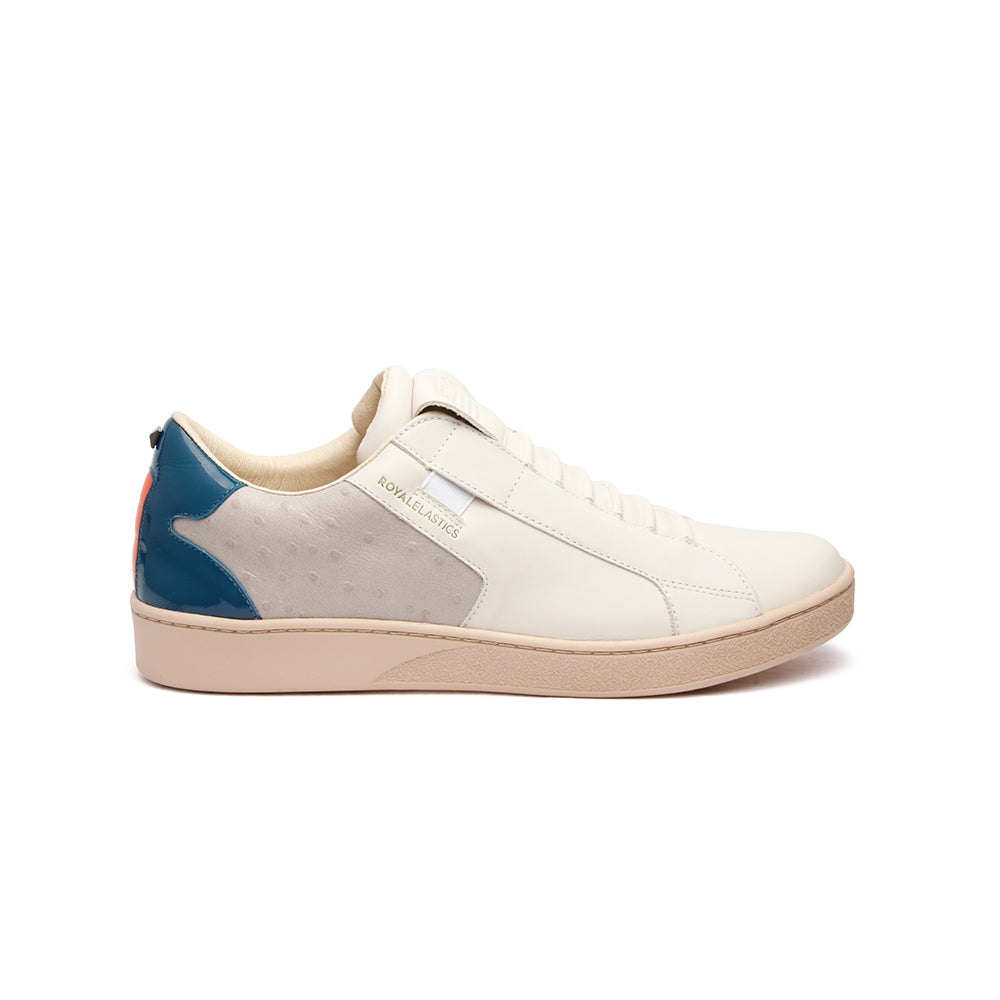 Men's Adelaide White Gray Blue Leather Sneakers - ROYAL ELASTICS