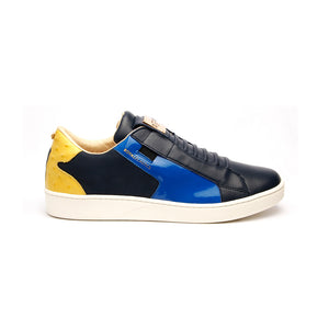 Men's Adelaide Navy Blue Yellow Leather Sneakers - ROYAL ELASTICS