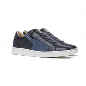 Men's Adelaide Black Blue Leather Sneakers 02694-995