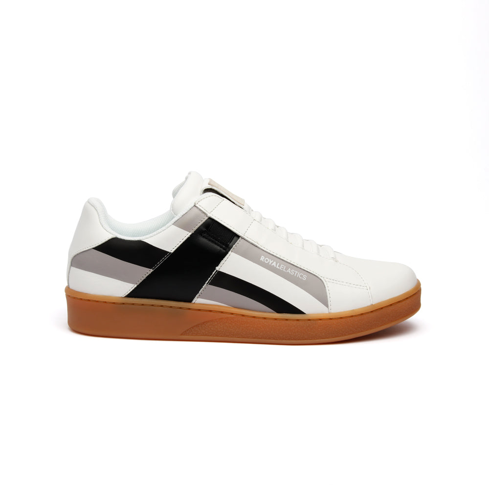 Men's Icon Cross White Gray Black Leather Sneakers - ROYAL ELASTICS