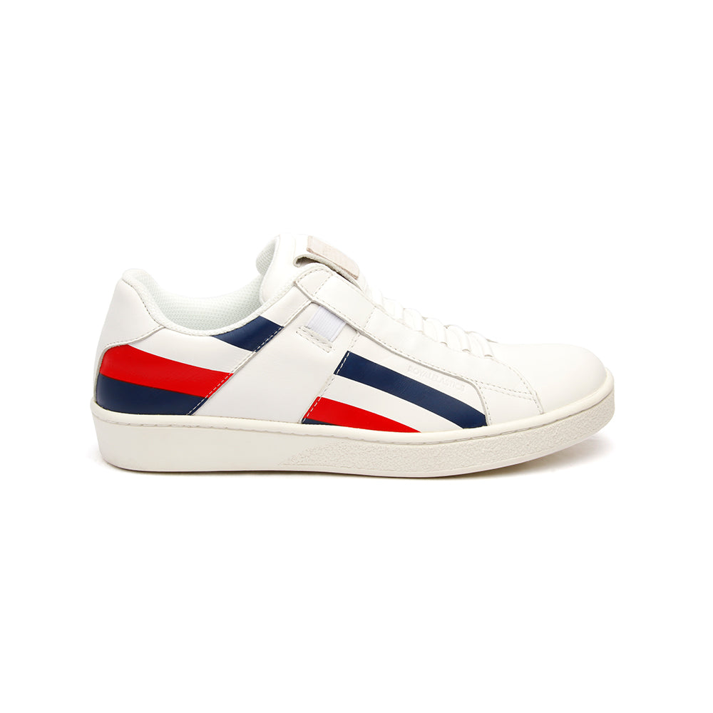 Men's Icon Cross White Navy Red Leather Sneakers - ROYAL ELASTICS