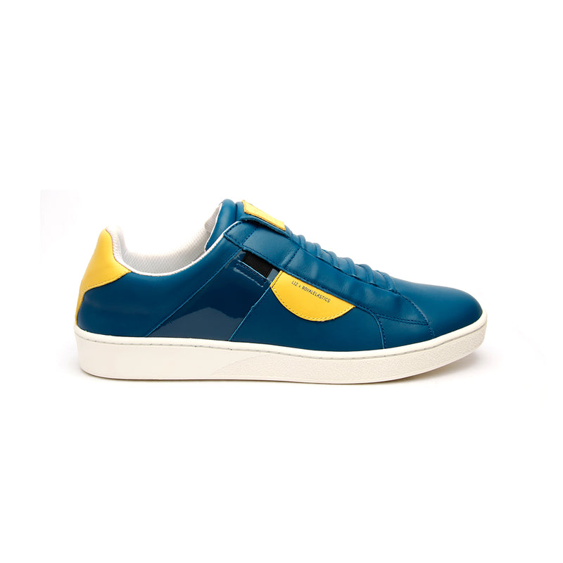 Men's Icon Dots Blue Yellow Leather Sneakers - ROYAL ELASTICS