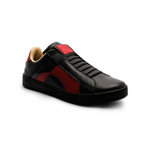 Men's Icon Dots Black Red Leather Sneakers - ROYAL ELASTICS