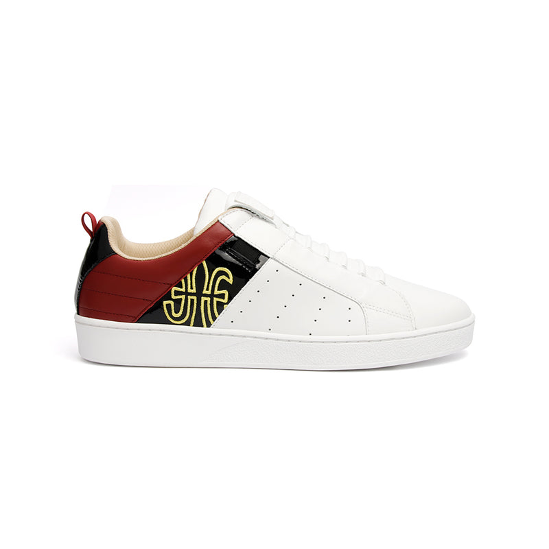 Men's Icon Manhood White Black Maroon Leather Sneakers 02992-091