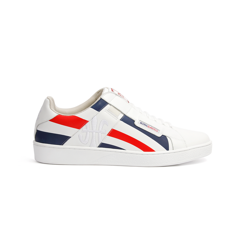 Men's Icon Cross White Blue Red Leather Sneakers 02993-150