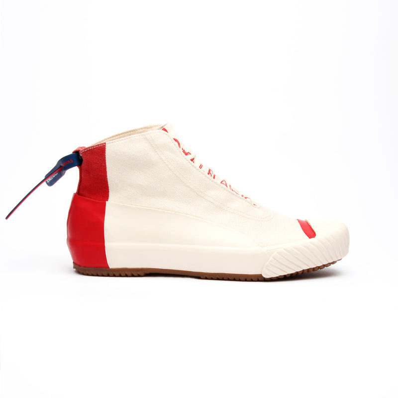 Women's London Hi Beige Red Canvas High Tops 93482-001 - ROYAL ELASTICS