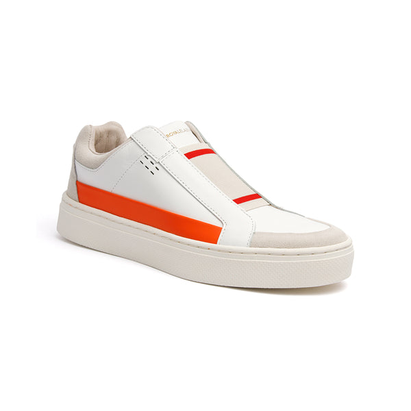 Men's King White Orange Leather Sneakers 04291-020 - ROYAL ELASTICS