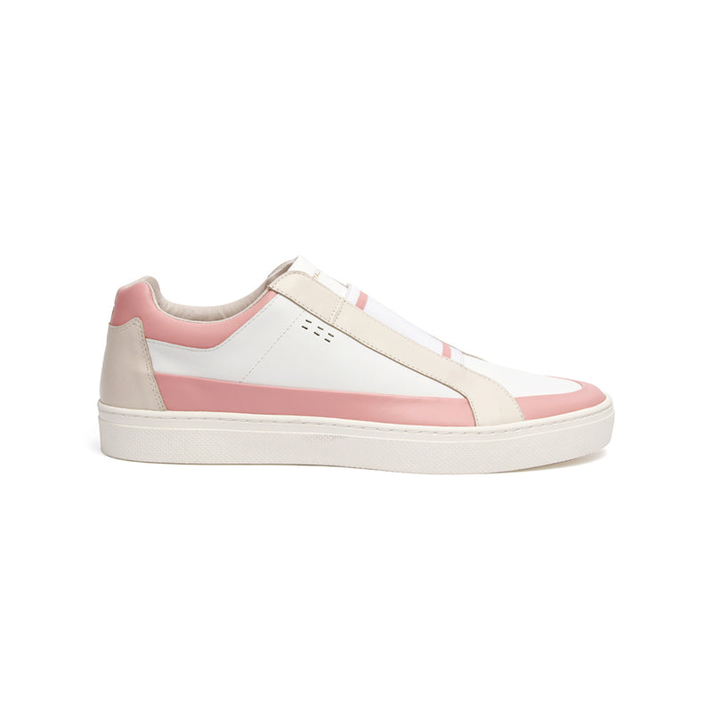 Men's King White Pink Leather Sneakers 04292-010