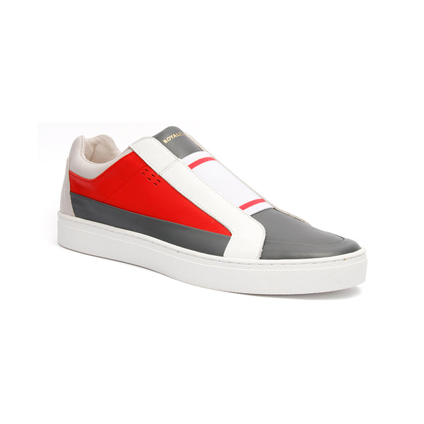 Men's King White Red Gray Leather Sneakers 04292-810 - ROYAL ELASTICS
