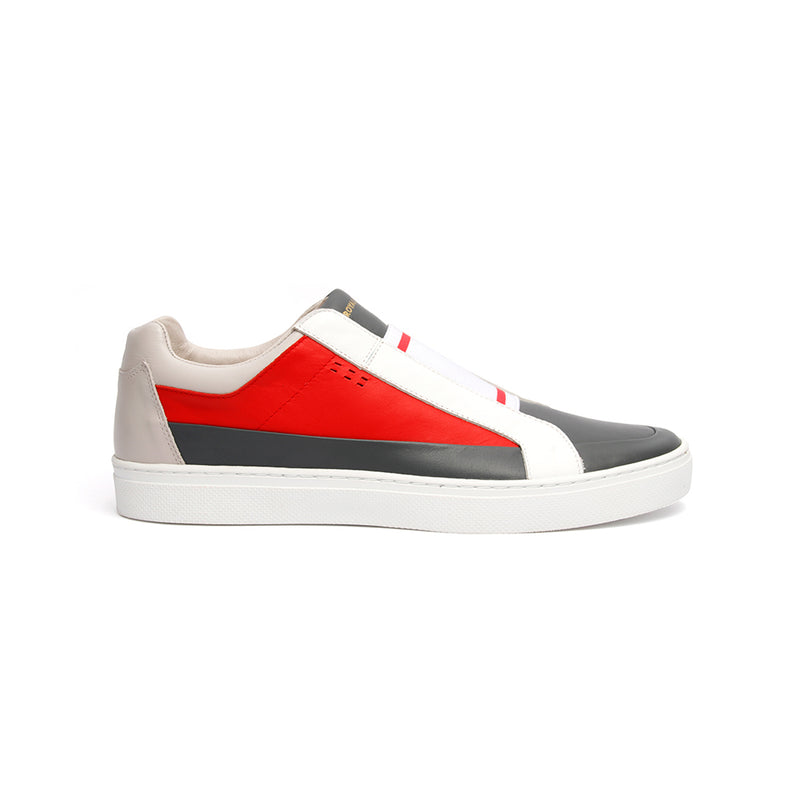 Men's King White Red Gray Leather Sneakers 04292-810