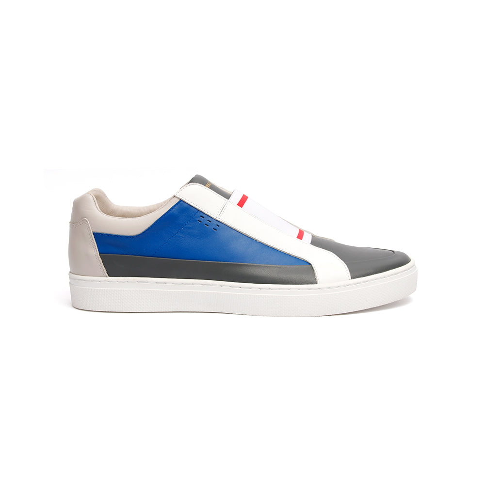 Men's King White Blue Gray Leather Sneakers 04292-850