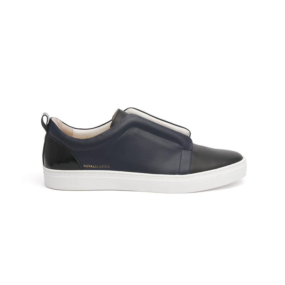 Men's Meister Black Navy Leather Low Tops - ROYAL ELASTICS
