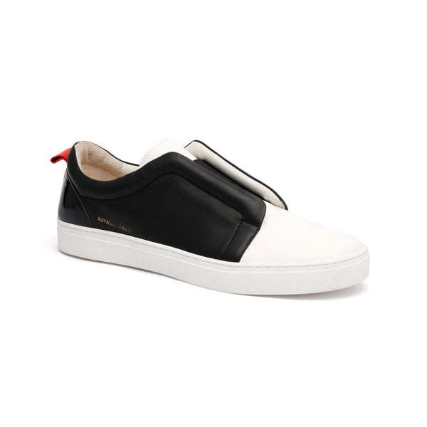 Men's Meister Black White Red Leather Low Tops 04384-990 - ROYAL ELASTICS