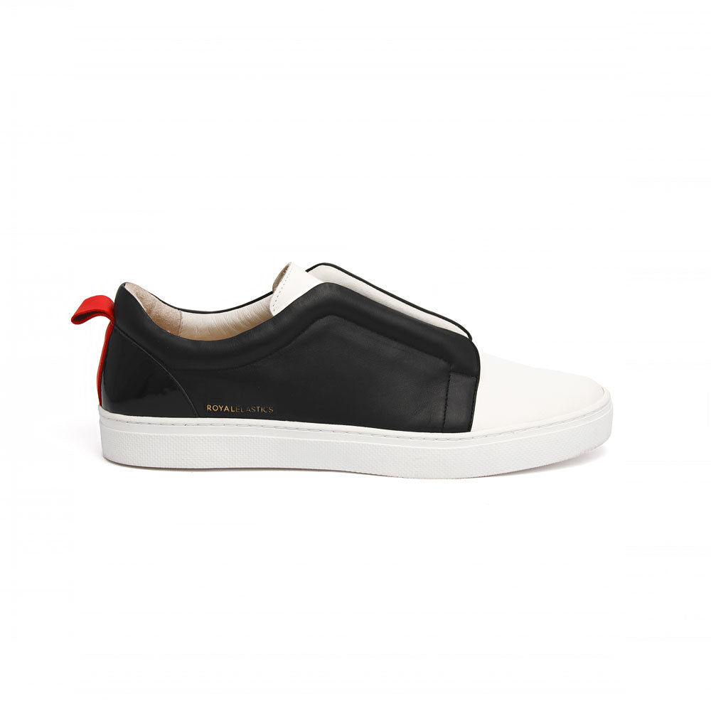 Men's Meister Black White Red Leather Low Tops - ROYAL ELASTICS