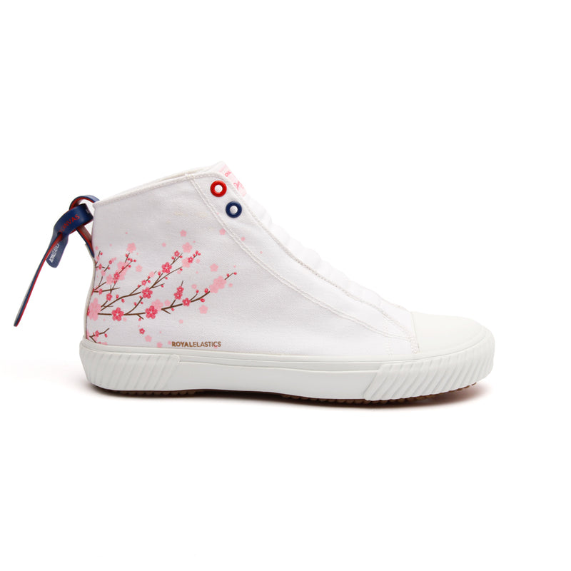 Women's Harajuku Sakura White Canvas High Tops - ROYAL ELASTICS