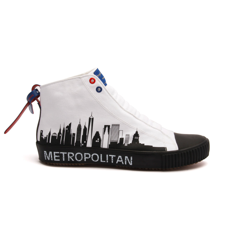 Men's Harajuku Metropolitan White Black Canvas High Tops 04783-009 - ROYAL ELASTICS
