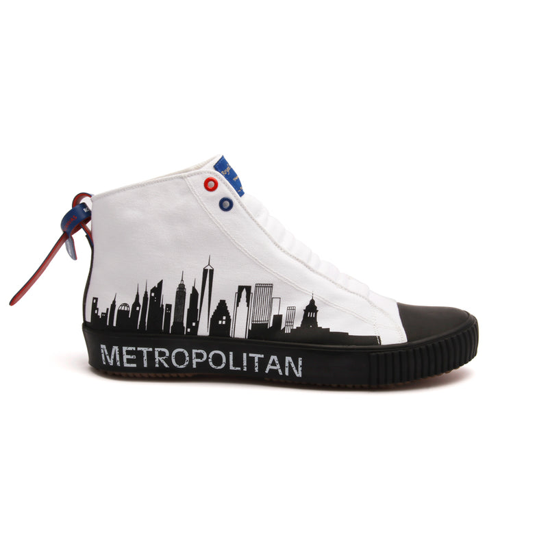 Men's Harajuku Metropolitan White Black Canvas High Tops - ROYAL ELASTICS