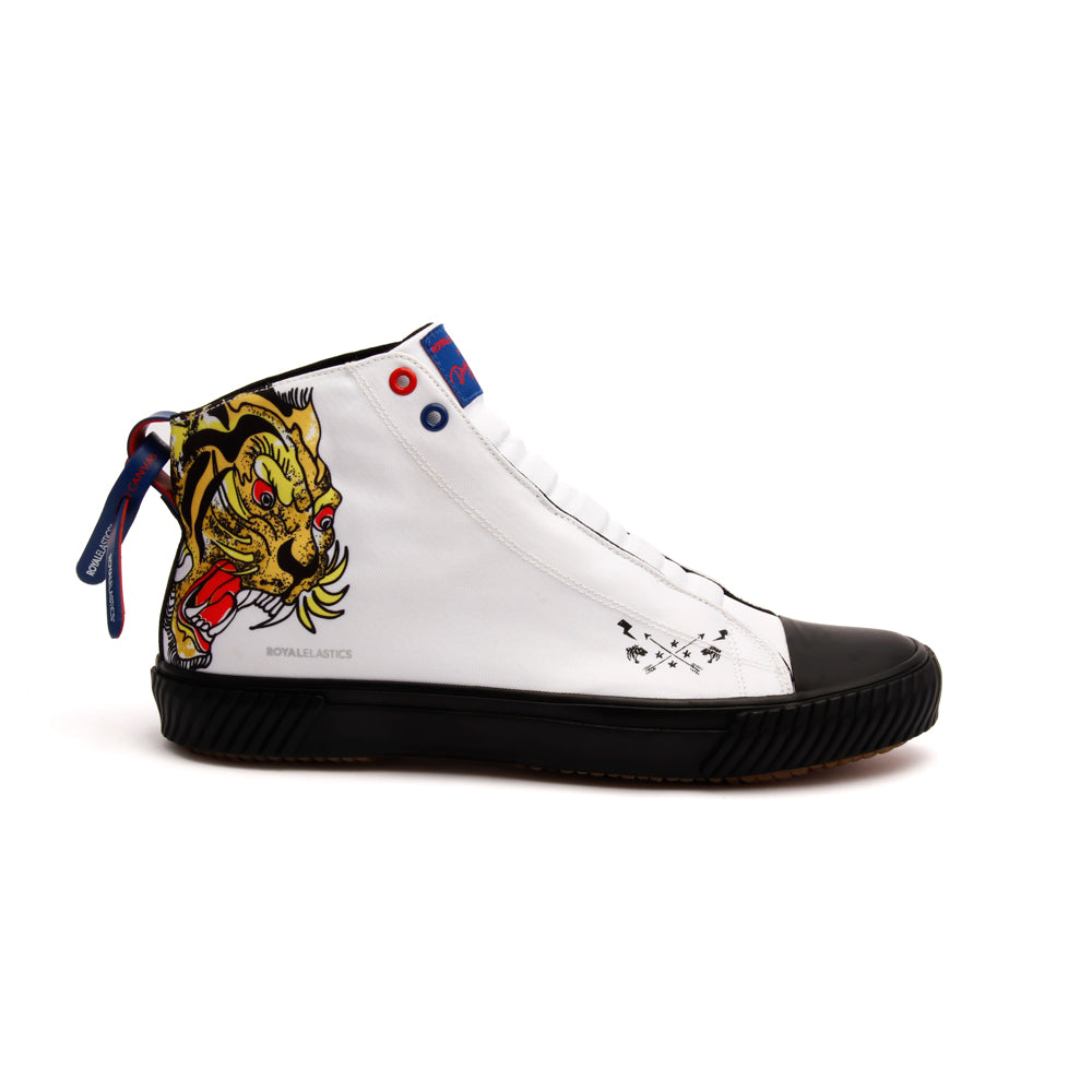 Women's Harajuku Ukiyo-E Tiger White Yellow Black Nylon High Tops 94783-309 - ROYAL ELASTICS