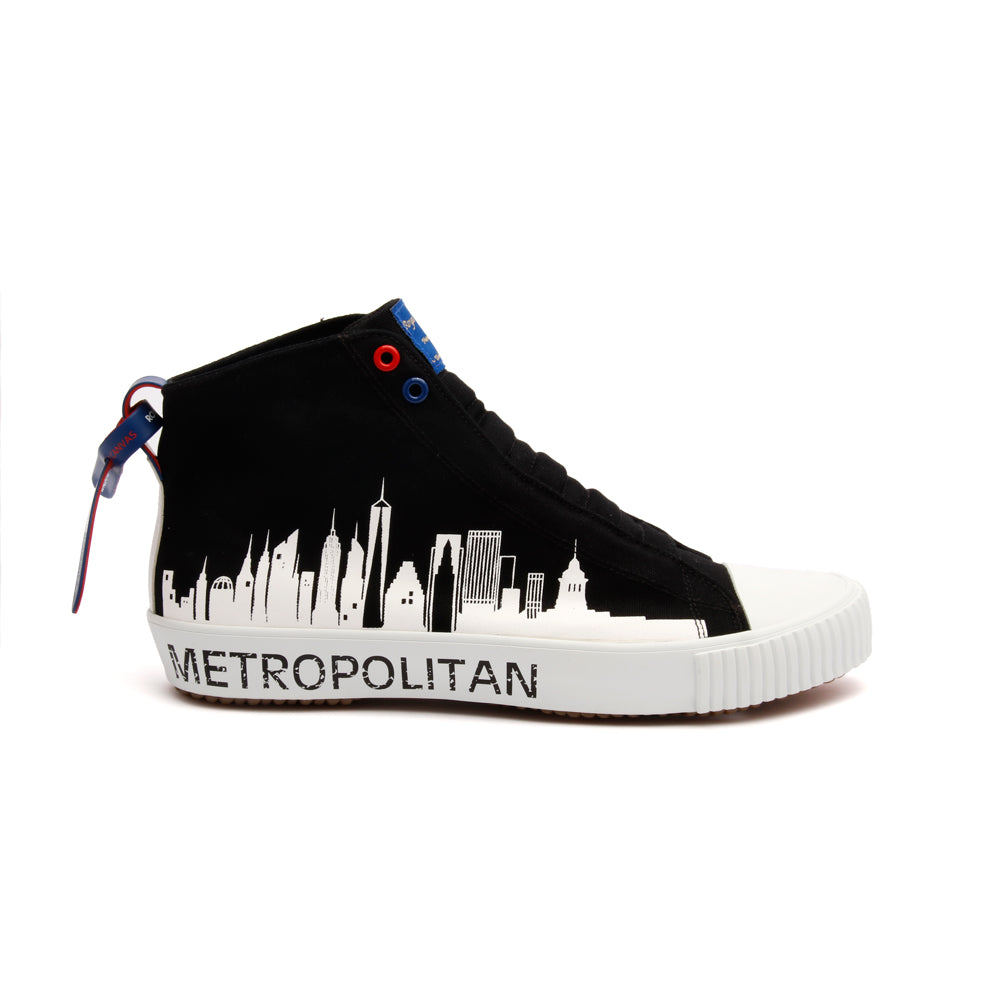 Men's Harajuku Metropolitan Black White Canvas High Tops 04783-990 - ROYAL ELASTICS