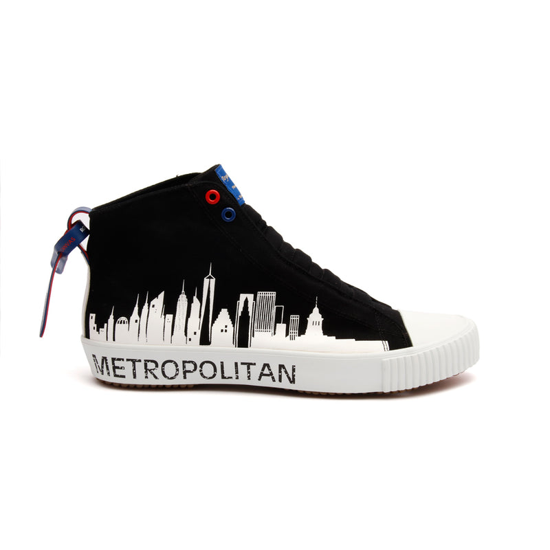 Men's Harajuku Metropolitan Black White Canvas High Tops - ROYAL ELASTICS