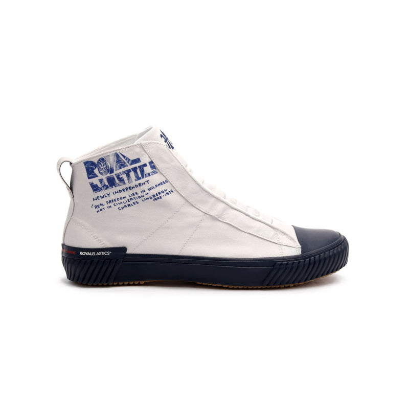 Women's Harajuku White Blue Canvas High Tops - ROYAL ELASTICS