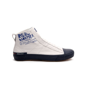 Men's Harajuku White Blue Canvas High Tops - ROYAL ELASTICS