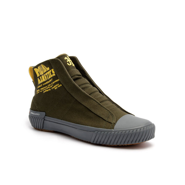 Men's Harajuku Olive Green Yellow Canvas High Tops 04784-443 - ROYAL ELASTICS