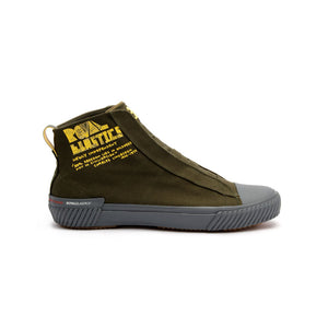 Men's Harajuku Olive Green Yellow Canvas High Tops - ROYAL ELASTICS