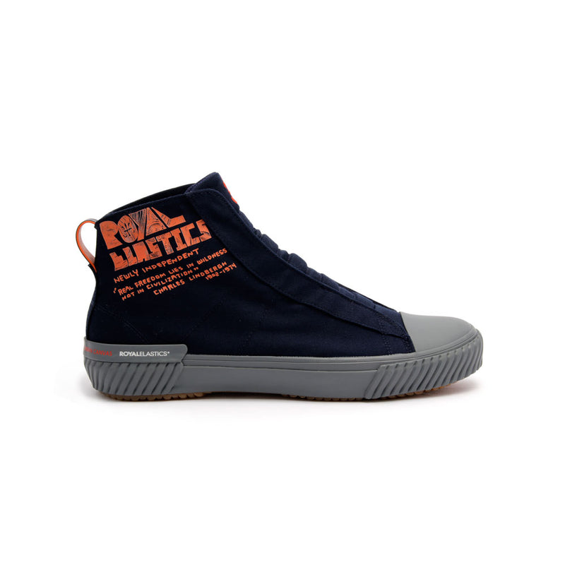 Men's Harajuku Navy Orange Canvas High Tops - ROYAL ELASTICS