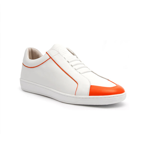 Men's Duke White Orange Leather Sneakers 05291-100 - ROYAL ELASTICS