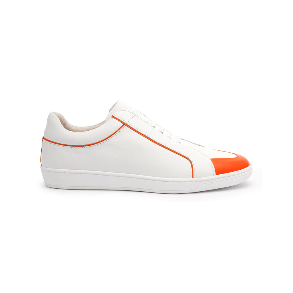 Men's Duke White Orange Leather Sneakers 05291-100