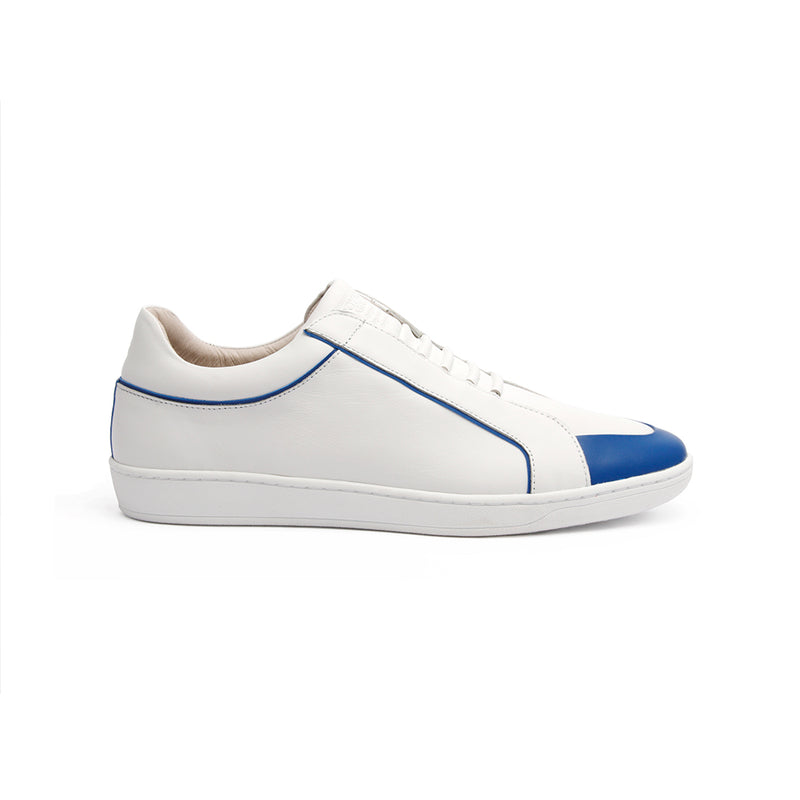Men's Duke White Blue Leather Sneakers 05291-500