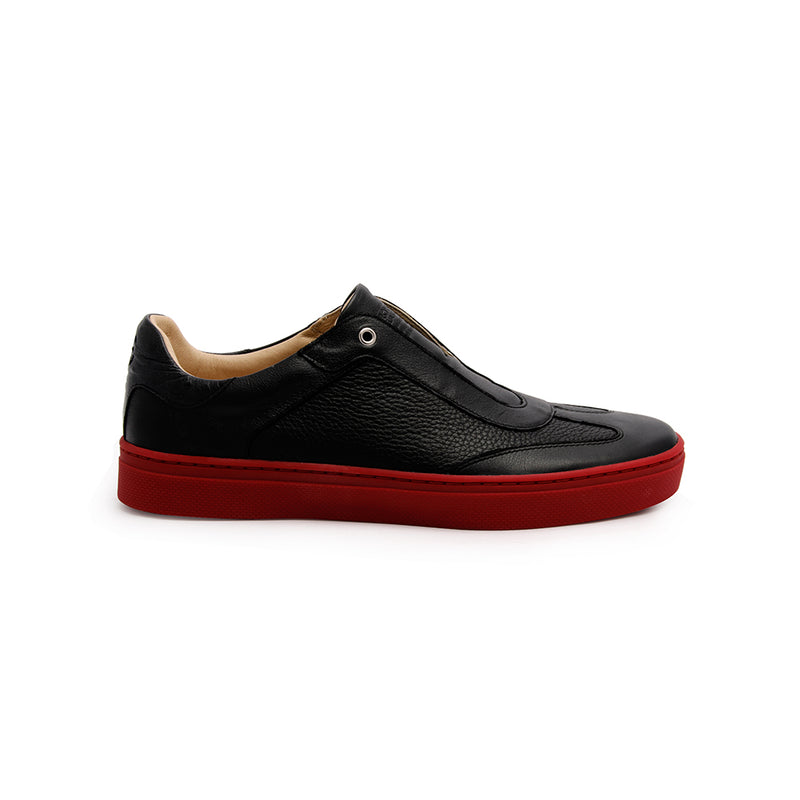 Men's Epiphany Black Red Leather Loafers - ROYAL ELASTICS