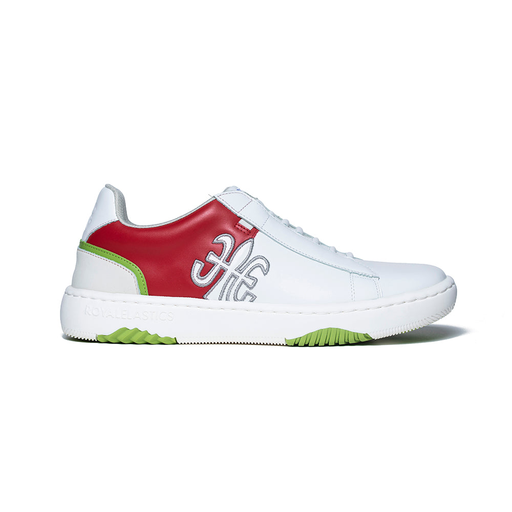 Men's DUCA White Red Green Leather Sneakers 06894-001