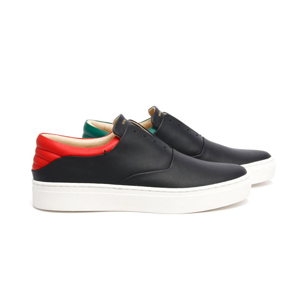 Women's Knight Black Red Green Leather Low Tops 90183-941 - ROYAL ELASTICS