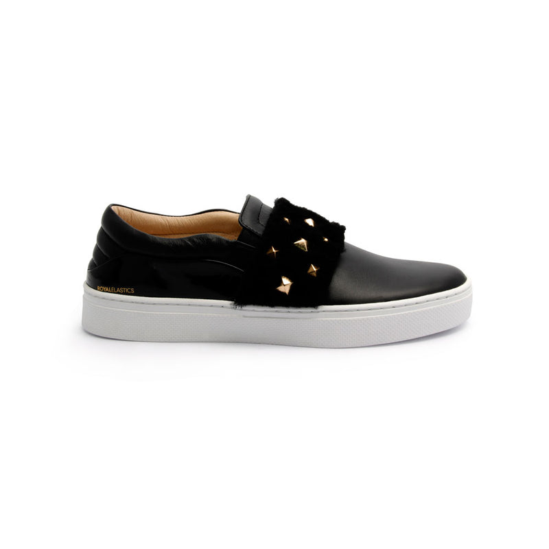 Women's Ketella Black Wool Leather Loafers