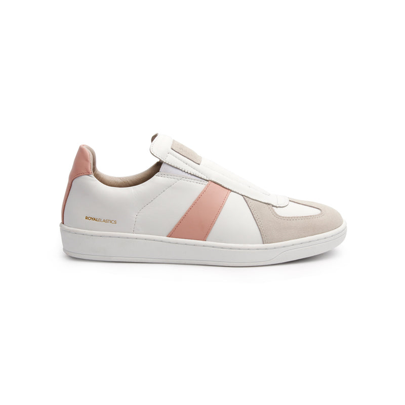 Women's Smooth White Pink Leather Low Tops - ROYAL ELASTICS