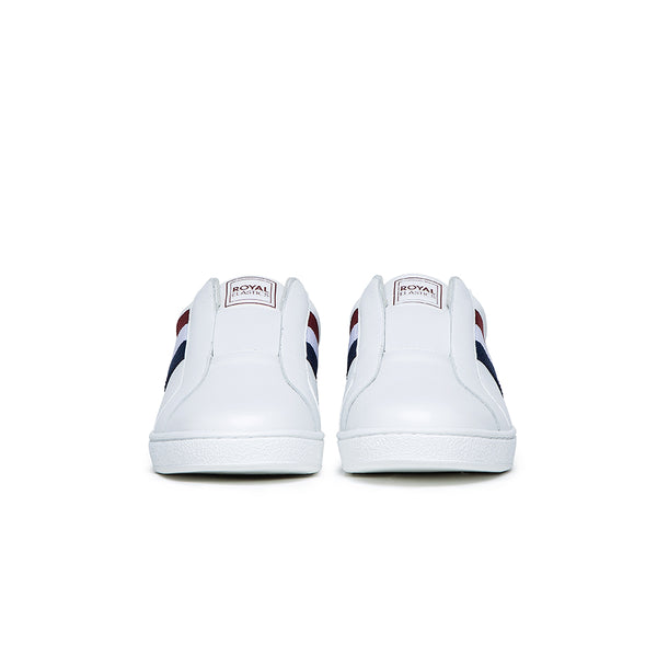 Women's Bishop White Red Blue Leather Sneakers 91711-015