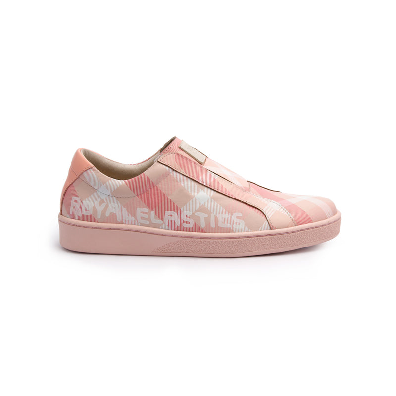 Women's Bishop Checked Pink White Leather Sneakers 91791-111