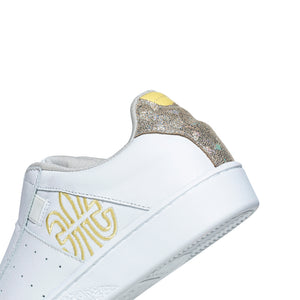 Women's Icon Genesis White Yellow Glitter Leather Sneakers 91901-300 - ROYAL ELASTICS